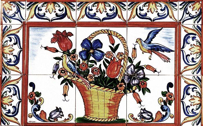 керамическая плитка панно цветы