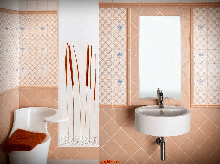 керамическая плитка для ванной розовая