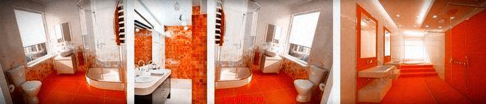 керамическая плитка для ванной оранжевая