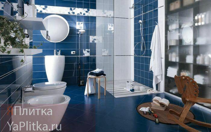 голубая керамическая плитка для ванной