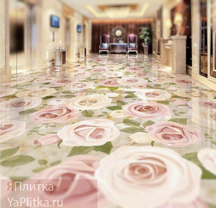 керамическая плитка с цветочным рисунком