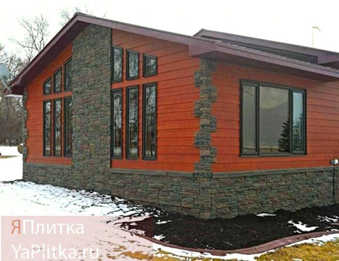 отделка искусственным камнем фасада дома