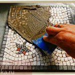 очистка мозаики из камня после затирки