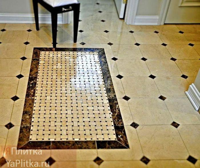 плитка на полу со вставками