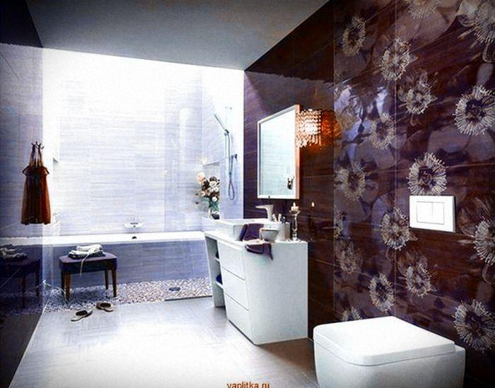 фиолетовая керамическая плитка для ванной