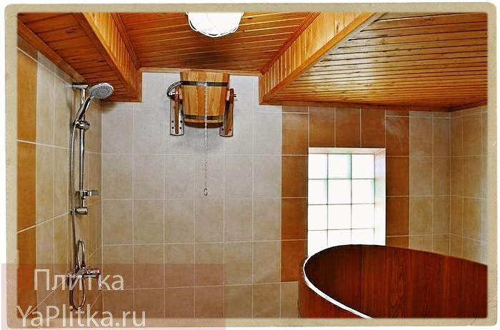 отделка душевой в бане