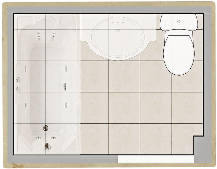 раскладка напольной плитки в ванной