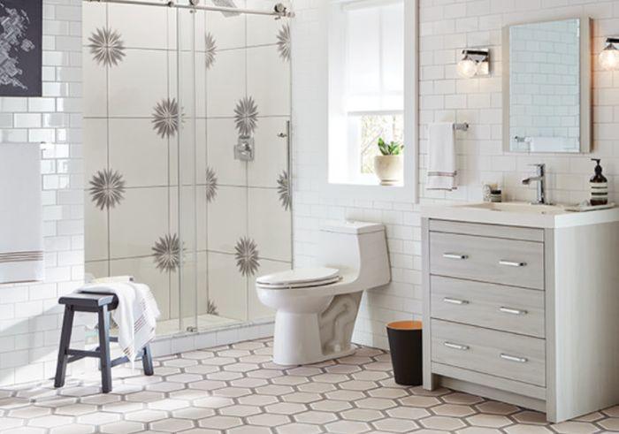 дизайн ванной плитки в ванной